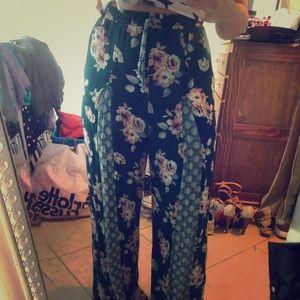 Pants - Boho wide legged green floral pants